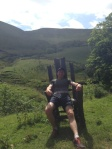 Taking a load off in the Giants chair just before Edale.