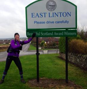 Looking pretty bloody pleased to have reached East Linton - 32 miles!