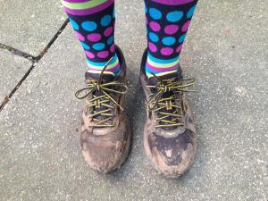 Muddy Shoes with funky socks