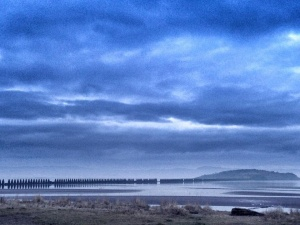 Cramond beach in the misty morning