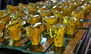 A herd of glass blown leopards ready for the prize giving.