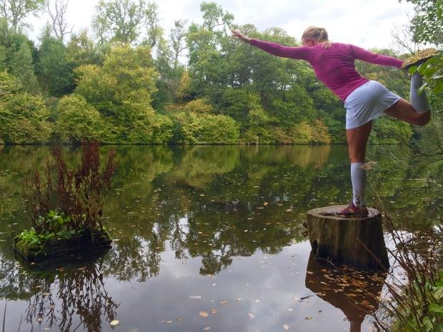 Skirt handling a yogi pose nicely