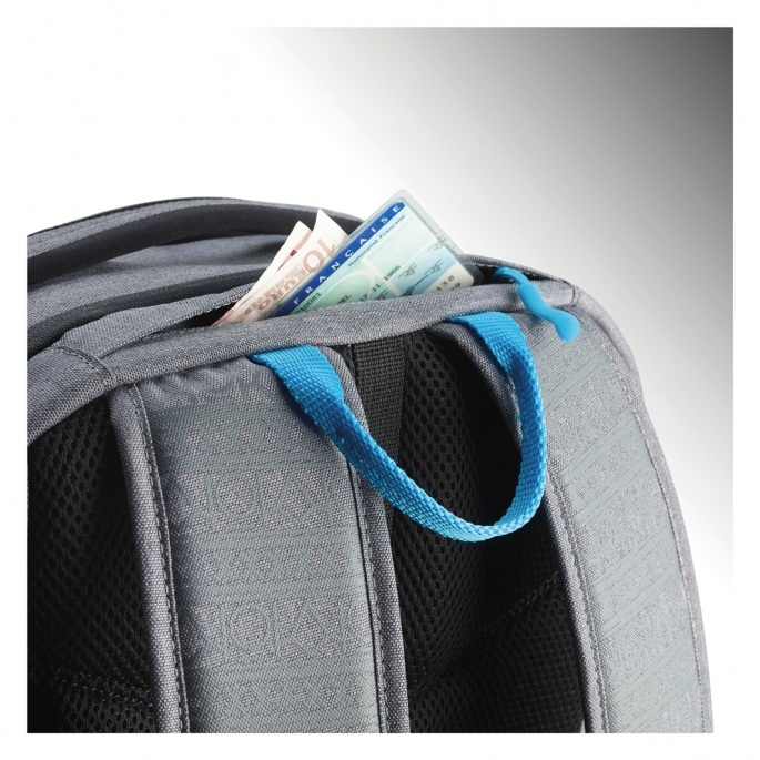Straps on top of the bag, and your little secret money/phone stash pocket.