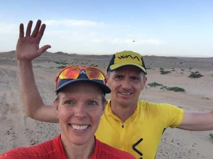 Smiles as the sun sets and we have survived the sand storm