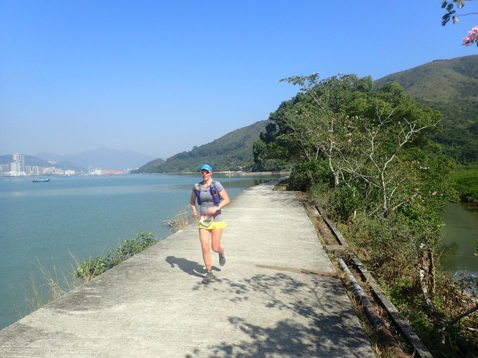 Running along the blue water